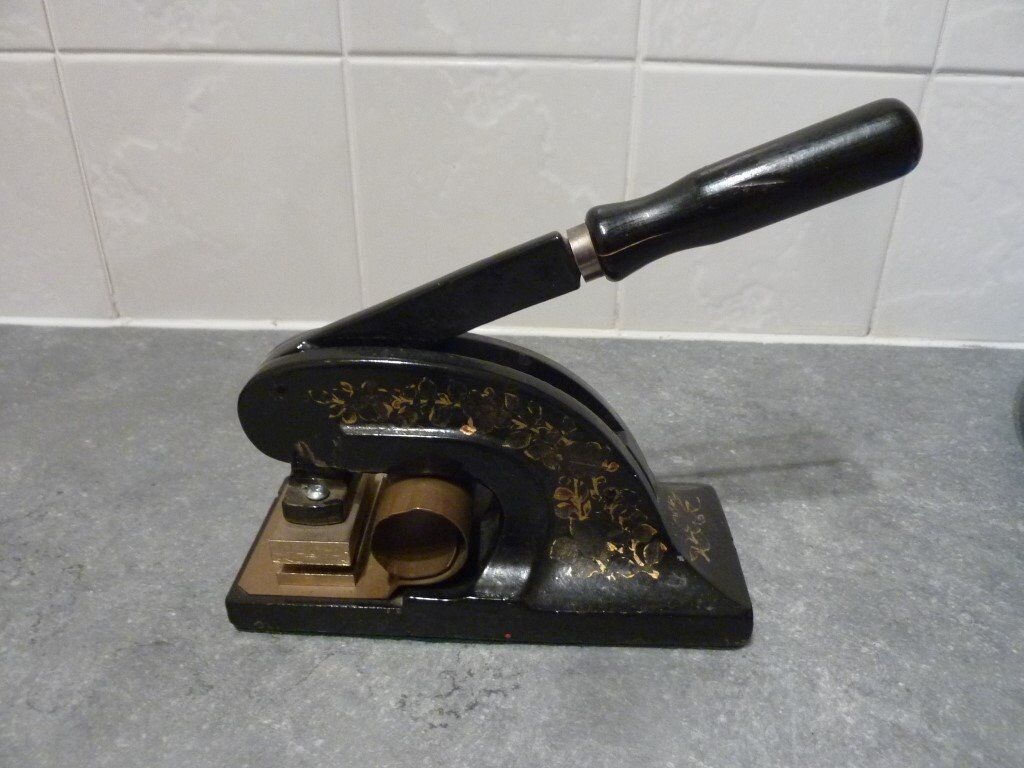 Vintage Cast Iron Paper Embossing Machine
