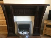 Vintage solid wood fire surround and mantlepiece