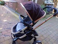 Icandy Peach 2, pram & pushchair with carrycot & raincover, Black Jack, immaculate, PRICE DROP!!!