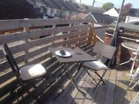 RAINPROOF FOLD UP GARDEN TABLE AND TWO CHAIRS