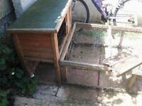 Rabbit hutch and run-poor condition-£10 for the lot!