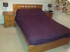 Pine bedroom furniture set featuring double bed frame, 2x bedside tables, wardrobe, chest of drawers