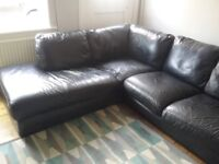 Large black leather corner sofa £100