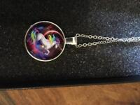 Brand new vintage unicorn necklace silver chain