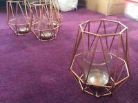 4X copper geometric tea light candle holder lanterns
