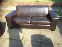Brown 3 & 2 seater sofa