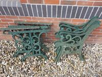 2 x Set of Garden Tables, 2 x Set of Table Ends, Cast Iron, Heavy