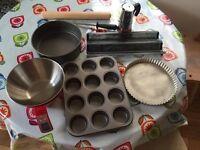 Electric Scales, Cake Tin, Tart Pan, Rolling Pin, Baguette Tray, Muffin Tins, Sharpening Steel