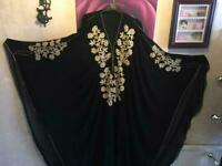 Brand new From Dubai Open Abaya Kaftan Jalabiya Farasha with scarf Free size Black Gold £60 for sale  Leicester, Leicestershire