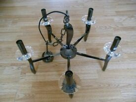 Large Brand New Heavy Chromed Steel and Cut Lead Crystal Designer Light Fitting surplus stock