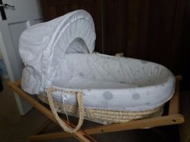 Mothercare moses basket, stand, unused mattress and blanket