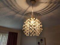 Modern Chrome Ceiling Pendant Light Shade Clear Acrylic Crystal Droplet