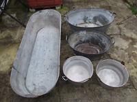 Vintage tin baths + aluminium pans