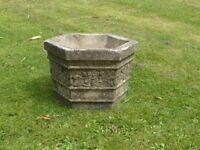 Vintage Weathered Cast Stone Hexagon Shaped Garden Planter Strawberry Detail
