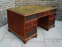 FREE DELIVERY Vintage Leather Pedestal Partners Desk Retro Mid Century Furniture