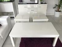 Coffee table, 2 Side Tables and Sideboard (White)