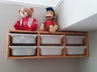 Ikea kids toy storage unit with 6 inserts