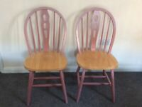 2x Pink wooden dining chairs