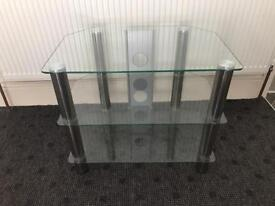 Clear glass and chrome TV stand TV unit