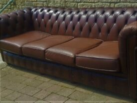 4 seater leather chesterfield sofa