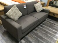 Brown Fabric 3 Seater