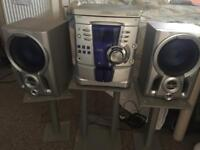 Kenwood Hi-Fi > 3 CD rotary player with x2 cassette player with stands