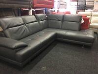 NEW / EX DISPLAY Grey Leather Thornhill Corner Sofa