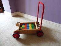 Wooden Baby Walker with Bricks