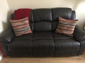 3+1+1 brown leather sofa