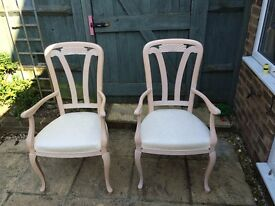 2 Beautiful upholstered carver chairs, suitable for any room of the house