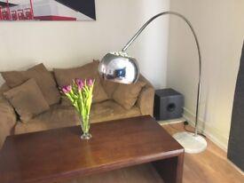 Bow / Arc Floor Lamp - chrome with marble base.