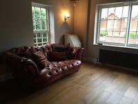 Oskar DFS leather Chesterfield sofa