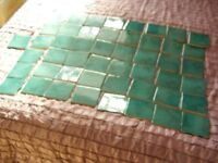 49 OLD UNUSED TRV CERAMIC TILES ~ JADE GREEN ~ 9.5 cms SQUARE .