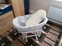 Baby's crib with rocking stool