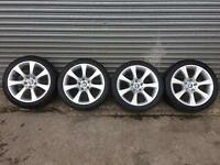 Set of 4 Staggered Alloy Wheels & 4 Branded Tyres For BMW 5 Series (E60/61) May Fit Other Vehicles