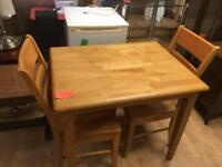 Wooden table 2 chairs