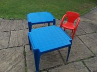 2 X CHILDRENS PLASTIC BLUE TABLES AND 1 RED CHAIR