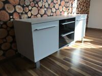 Sideboard / cabinet, colour black/white - size 1350mm wide x 420mm deep x 570mm high