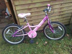 Girls 20 inch bike, pink and purple.