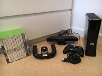 Xbox360 Elite Slim/3 wireless controllers & steering wheel/Kinect/plug'n'play and 21 games