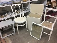 5 x pieces if furniture for up cycling, shabby chic (chairs, table, mirror, ottoman) BARGAIN