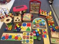 Large bundle of wooden toys