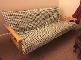4 Seater double sleeper beachwood futon