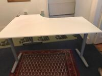 White office desk. Corner desk/ quadrant . 160cm x 120 cm. adjustable height 65-125cm