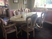 Italian dining table, 6 chairs. Coffee table and side table.