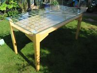 Pine glass topped table with storage under glass unused