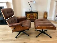 Eames Style Lounge Chair and Ottoman - Wood and Brown Leather