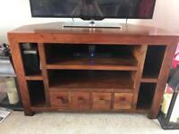 Dark solid wood corner tv unit