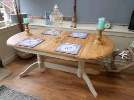 Pine farm house extendable table