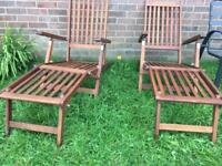 Pair of quality hardwood garden loungers with foot rest vgc